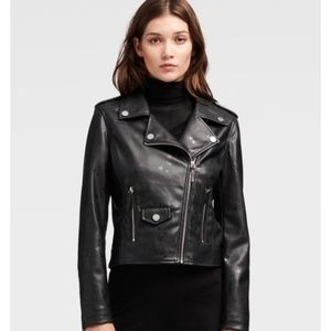 DKNY Star Print Faux Leather Moto Jacket